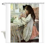 Little Girl With Her Doll Shower Curtain
