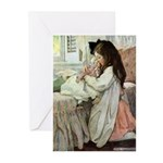 Little Girl With Her Doll Greeting Cards (Pk of 10