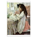 Little Girl With Her Doll Large Poster