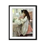 Little Girl With Her Doll Framed Panel Print