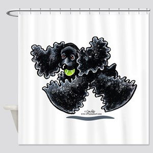 Black Cocker Spaniel Play Shower Curtain