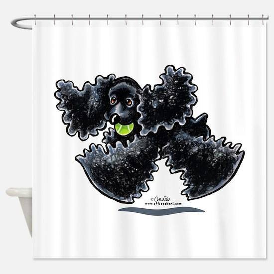 Black Cocker Spaniel Play Shower Curtain