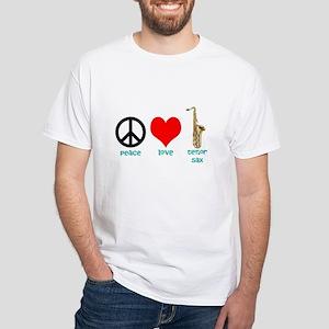 Peace Love Tenor Sax White T-Shirt