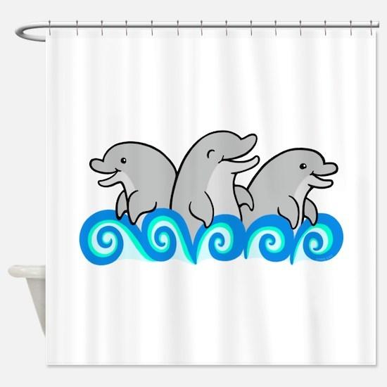 Playful Dolphin Trio Shower Curtain