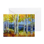 Birch Forest Lake Greeting Cards