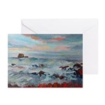Surf At Sunset Greeting Cards