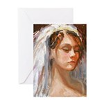 Lady with Veil Greeting Cards