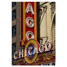 Close-up of a theater sign, Chicago Theater, Chica Framed Print