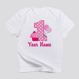 1st Birthday Pink Cupcake Infant T Shirt