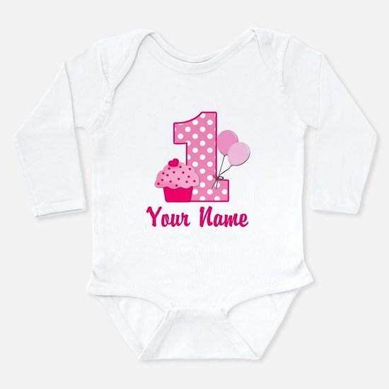 1st Birthday Pink Cupcake Long Sleeve Infant Bodys