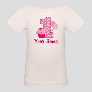1st Birthday Pink Cupcake Organic Baby T Shirt