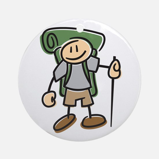 Happy Hiker Boy Ornament (Round)