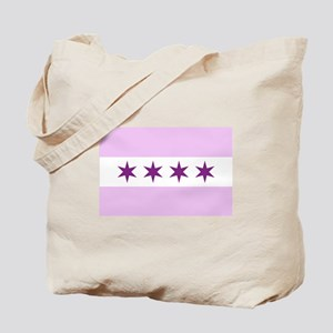 Chicago Flag in Purple Tote Bag