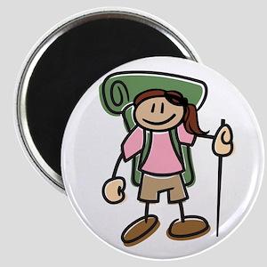 Happy Hiker Girl Magnet
