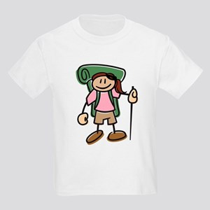 Happy Hiker Girl Kids Light T-Shirt