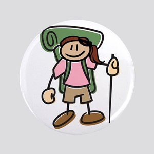"""Happy Hiker Girl 3.5"""" Button"""