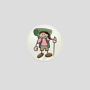 Happy Hiker Girl Mini Button