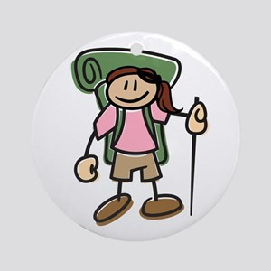 Happy Hiker Girl Ornament (Round)