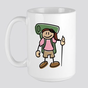 Happy Hiker Girl Large Mug