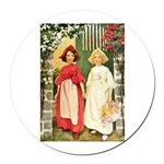 Snow White & Rose Red Round Car Magnet
