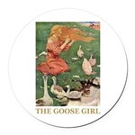 The Goose Girl Round Car Magnet