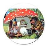 Gnome Outside his Toadstool Cottage Round Car Magn