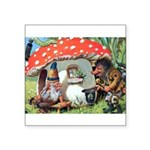 Gnome Outside his Toadstool Cottage Square Sticker