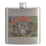 Gnome Outside his Toadstool Cottage Flask