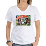 Gnome Outside his Toadstool Cottage Women's V-Neck