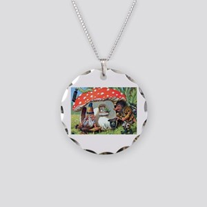 Gnome Outside his Toadstool Cottage Necklace Circl