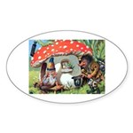 Gnome Outside his Toadstool Cottage Sticker (Oval)
