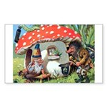 Gnome Outside his Toadstool Cottage Sticker (Recta