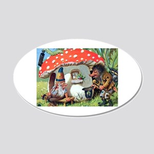 Gnome Outside his Toadstool Cottage 20x12 Oval Wal