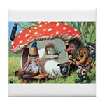 Gnome Outside his Toadstool Cottage Tile Coaster