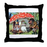 Gnome Outside his Toadstool Cottage Throw Pillow