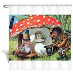 Gnome Outside his Toadstool Cottage Shower Curtain