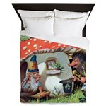 Gnome Outside his Toadstool Cottage Queen Duvet
