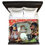 Gnome Outside his Toadstool Cottage King Duvet