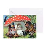 Gnome Outside his Toadstool Cottage Greeting Card