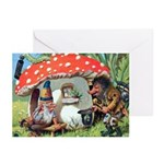 Gnome Outside his Toadstool Cottage Greeting Cards