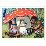 Gnome Outside his Toadstool Cottage Small Poster