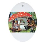 Gnome Outside his Toadstool Cottage Ornament (Oval