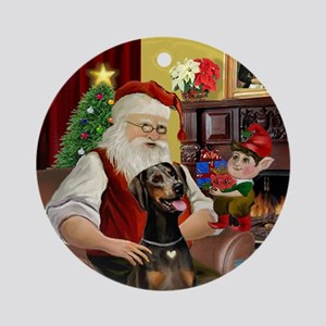 Santa's Doberman (natural) Ornament (Round)