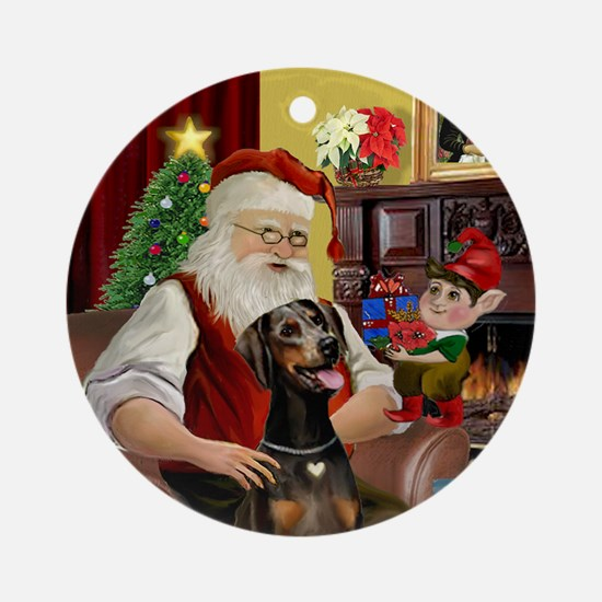 Santa's Doberman (natural) Ornament (Round)