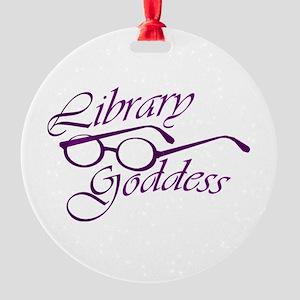 Library Goddess Round Ornament