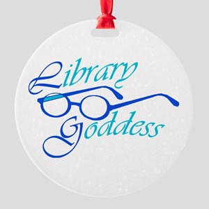 Library Goddess Round Ornament