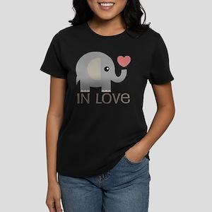 Couples In Love Elephant Women's Dark T-Shirt
