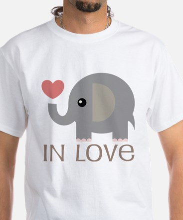 Dating In Love Elephant White T-Shirt