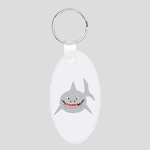 Shark Aluminum Oval Keychain