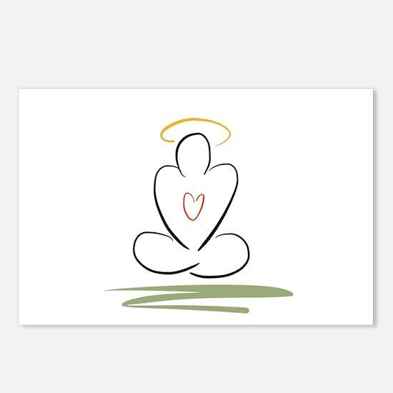 Zen peaceful mind meditation pose Postcards (Packa